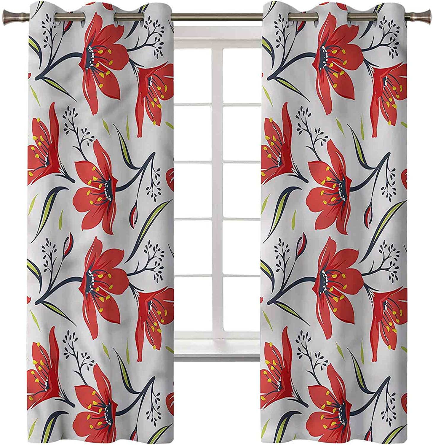 Blackout Curtains Light Easy-to-use Blocking Panel Floral Window Price reduction Draperies