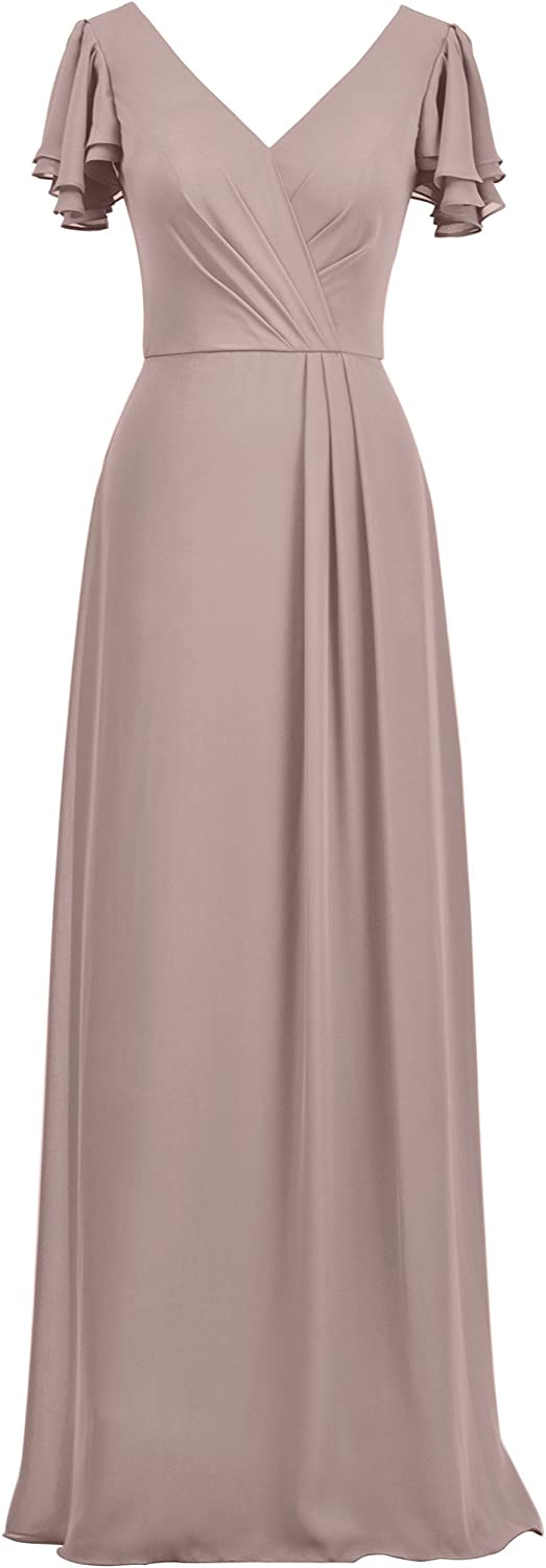 Alicepub Bridesmaid Dresses with Sleeves Elegant Maxi Dress Evening Prom Gowns