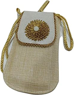 Kiara's Ethnic Jute Clutch Mobile Pouch Waist Clip Ladies Purse Gift For Women