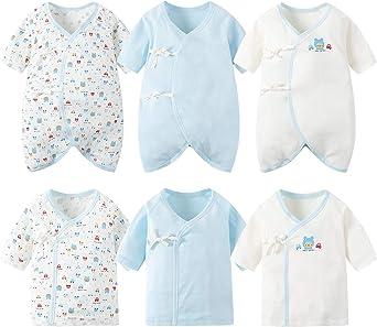 コンビ 新生児肌着 6枚組ベビー用肌着 ロンパース カバーオール ロンパース 前開きタイプ 肌着パジャマ 可愛いプリント 通年素材 男の子 ブルー