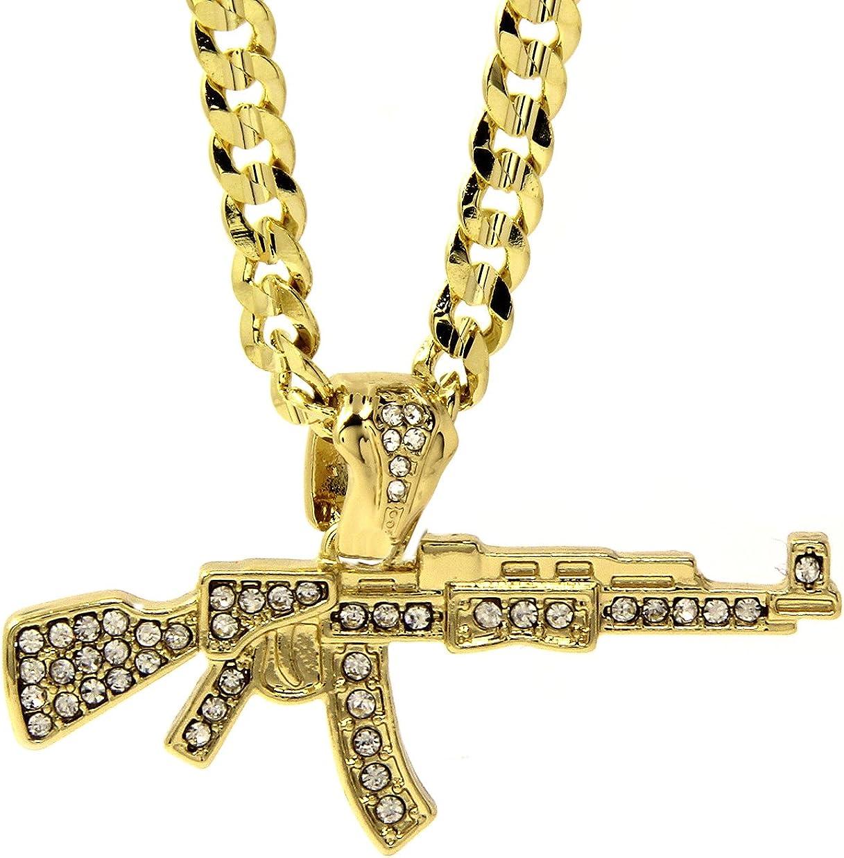 Jewel Town Mens 14k Gold Plated Iced Cz Hip-Hop AK-47 Gun Pendant 24