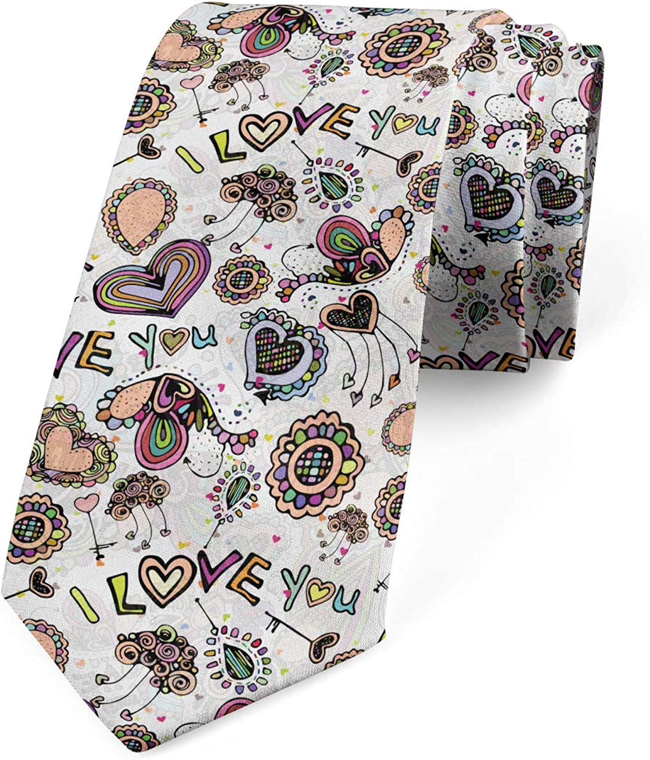 Ambesonne Necktie, Abstract Amour, Dress Tie, 3.7