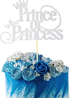 Starsgarden Silver Glitter Prince or Princess Cake Topper - Gender Reveal -Boy or Girl - He or She - Baby Shower Party Decorations(Silver)