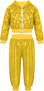 Kids Boys Girls Sequins Hip-hop Jazz Latin Street Dance Costume Jacket with Pants 2pcs Set