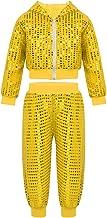 MSemis Kids Boys Girls Sequins Hip-hop Jazz Latin Street Dance Costume Jacket with Pants 2pcs Set