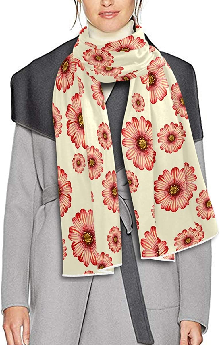 Scarf for Women and Men Daisy Floral Beige Blanket Shawl Scarves Wraps Soft Winter Large Scarves Lightweight
