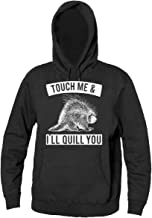 Finest Prints Touch Me & I'll Quill You Dangerous Porcupine Men's Hooded Sweatshirt