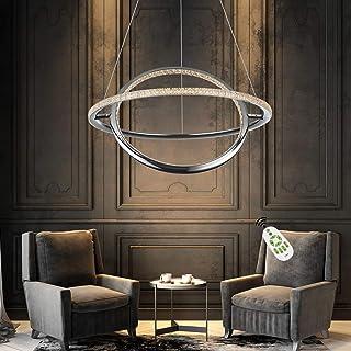 ZMH Lámpara colgante LED moderna, regulable, en cromo, con mando a distancia, anillo giratorio, 37 W, para comedor, 150 cm, altura regulable para salón, dormitorio y cocina