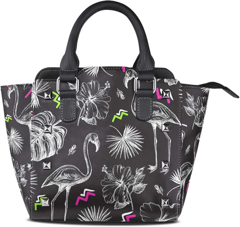 My Little Nest Women's Top Handle Satchel Handbag Tropical Hibiscus Flowers Leaves Flamingo Ladies PU Leather Shoulder Bag Crossbody Bag