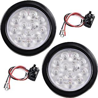 "2pcs 12- LED 4"" Round Back-up Reverse Light Kits Include Grommet Plug Clear Lens White Light Truck Trailer RV"