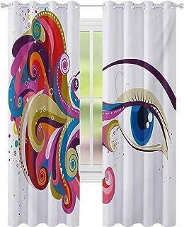 Brusreducerande fönsterdraperier, abstrakt konstverk kvinnans öga färgglada vibrerande virvlar prickar kurviga linjer femi...