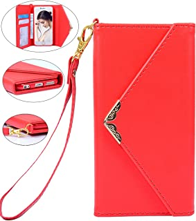 iPhone 6 Wallet Case, Crosspace iPhone 6s Envelope Flip Handbag Shell Women Wallet PU Leather Magnetic Folio Cover Cases with Credit Card ID Holders Wrist Strap for Apple iPhone 6/6s 4.7inch-Red
