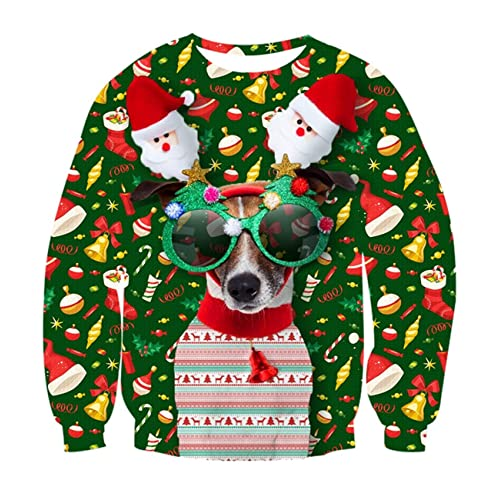 9bd67d391533 Idgreatim Teenager Boys Ugly Christmas Pullover Sweatshirt Funny 3D Dog  Printed Long Sleeve T-Shirt
