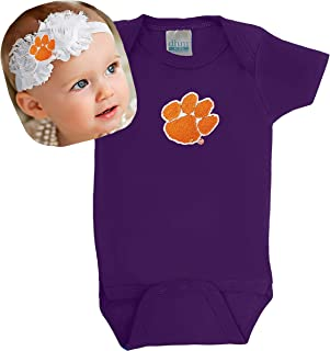 Future Tailgater Clemson Tigers Baby Onesie and Shabby Flower Headband - Purple