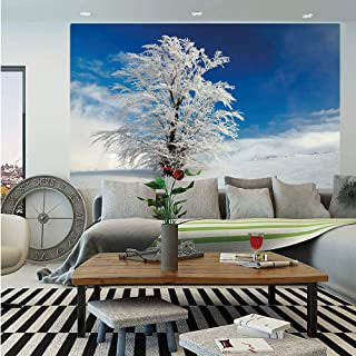 Winter Wall Mural,Lonely Tree on Snow Covered Land Cloudy Sky Rural Scenery January Cold Country,Self-Adhesive Large Wallpaper for Home Decor 83x120 inches,