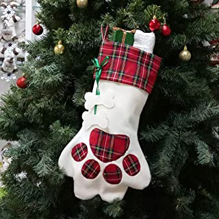 QBSM Dog Christmas Stocking Pet Cat Large Paw Personalize Hanging Puppy Stockings with Bone, Red