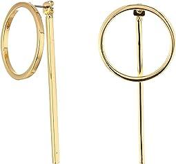 Steve Madden - Front to Back Ring Bar Post Earrings