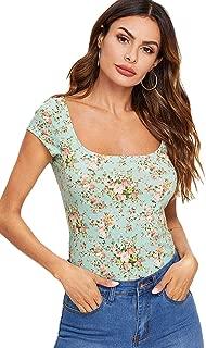Women's Floral Short Cap Sleeve Scoop Neck Slim Fit Crop Tee Top