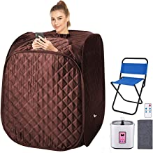 Portable Personal Sauna 2L Home Steam Sauna Tent Folding Indoor Sauna Spa Weight Loss Detox with Remote Control, Timer, Foldable Chair (Coffee)