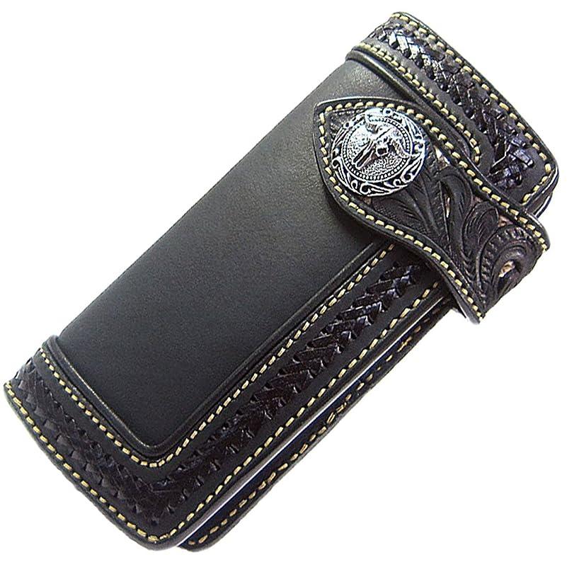重要性管理する株式会社メンズ 財布 バイカーズウォレット レザーウォレット 本革 レザー 3重装飾 透かし彫り カービング パイソン 革財布 サドルレザー ブラック 黒