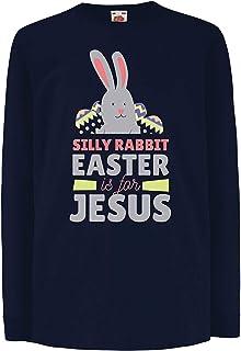 lepni.me キッズボーイズ/ガールズTシャツ 愚かなウサギ、イースターはイエス、クリスチャンへの贈り物