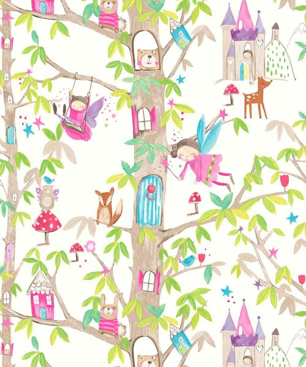 Arthouse Imagine Fun Woodland Fairies White Wallpaper 667001 Glitter Childrens Amazon Co Uk Diy Tools