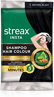 Buycrafty Streax Insta Shampoo Hair Colour Natural Black 25 ml-Pack of 3