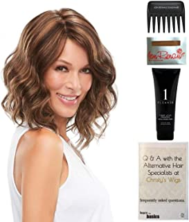 Bundle - 5 items: Mila Wig by Jon Renau, Christy's Wigs Q & A Booklet, 2oz Travel Size Wig Shampoo, Wig Cap & Wide Tooth Comb - Color: 14/26S10