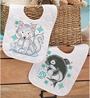 Herrschners® Pre-Quilted Polar Pals Baby Bibs Stamped Cross-Stitch Kit
