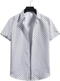SSBZYES Herenhemd met korte mouwen, strandhemd, Hawaï, los, casual, katoen en linnen, korte mouwen, geruit overhemd, casua...