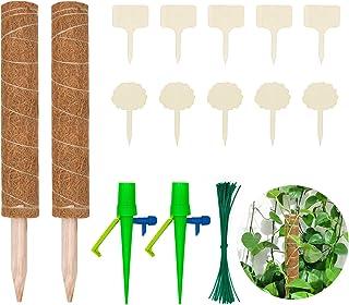 Halcyerdu 2 PiezasTótem De Fibra De Coco 40cm, 50 Plant Corbatas, 2 Goteo Automático,10 Etiquetas de Plantas, para Plantas...