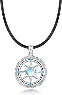 Compass Necklace, 925 Sterling Silver with Synthetic Moonstone, Compass Jewelry Gift for Women Unisex Adult with Gift Box