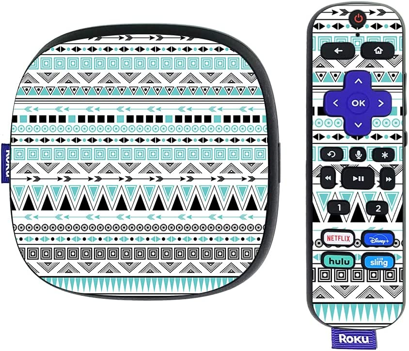 MightySkins Skin Compatible with Roku Ultra HDR 4K Streaming Media Player (2020) - Turquoise Tribal   Protective, Durable, and Unique Vinyl Decal wrap Cover   Easy to Applys   Made in The USA