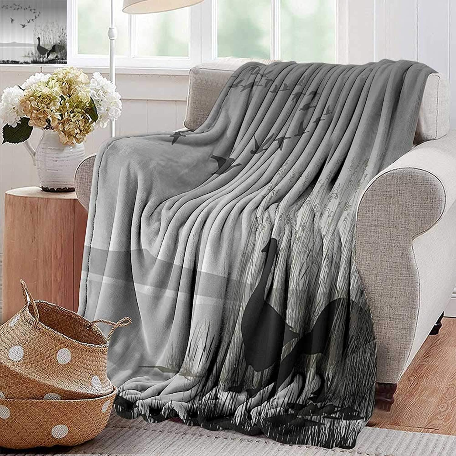 PearlRolan Bed Blanket,Wildlife Decor,Silhouette of a Geese by Frozen Lake Flying Autumn Birds in The Sky Scene,bluee Black,for Bed & Couch Sofa Easy Care 35 x60