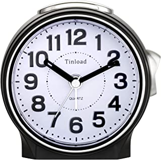 Tinload Battery Operated Analog Alarm Clock Silent No Ticking, Lighted on Demand and Snooze, Beep Sounds, Gentle Wake, Ascending Alarm, Easy Set (Black)