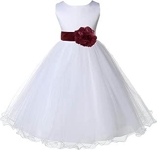 ekidsbridal White Tulle Rattail Edge Junior Flower Girl Dresses Christening Dresses 829S