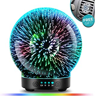 3D Glass Aromatherapy Essential Oil Diffuser – Newest Version fragrance oil Humidifier, 7 LED Color lighting modes firework theme, Premium Ultrasonic mist, Auto-Off Safety Switch (Black)
