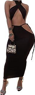 XLLAIS Women's Sexy Halter Neck Tops Side Ruffle Mini Skirts Sets Beachwear