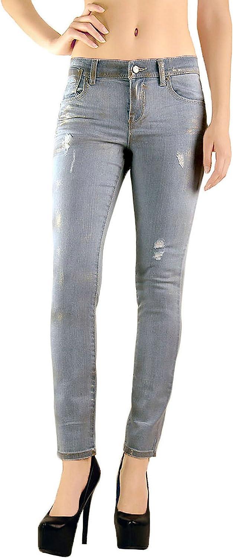 Standards & Practices Women's Stretch Denim Metallic Foil Skinny Ankle Jeans