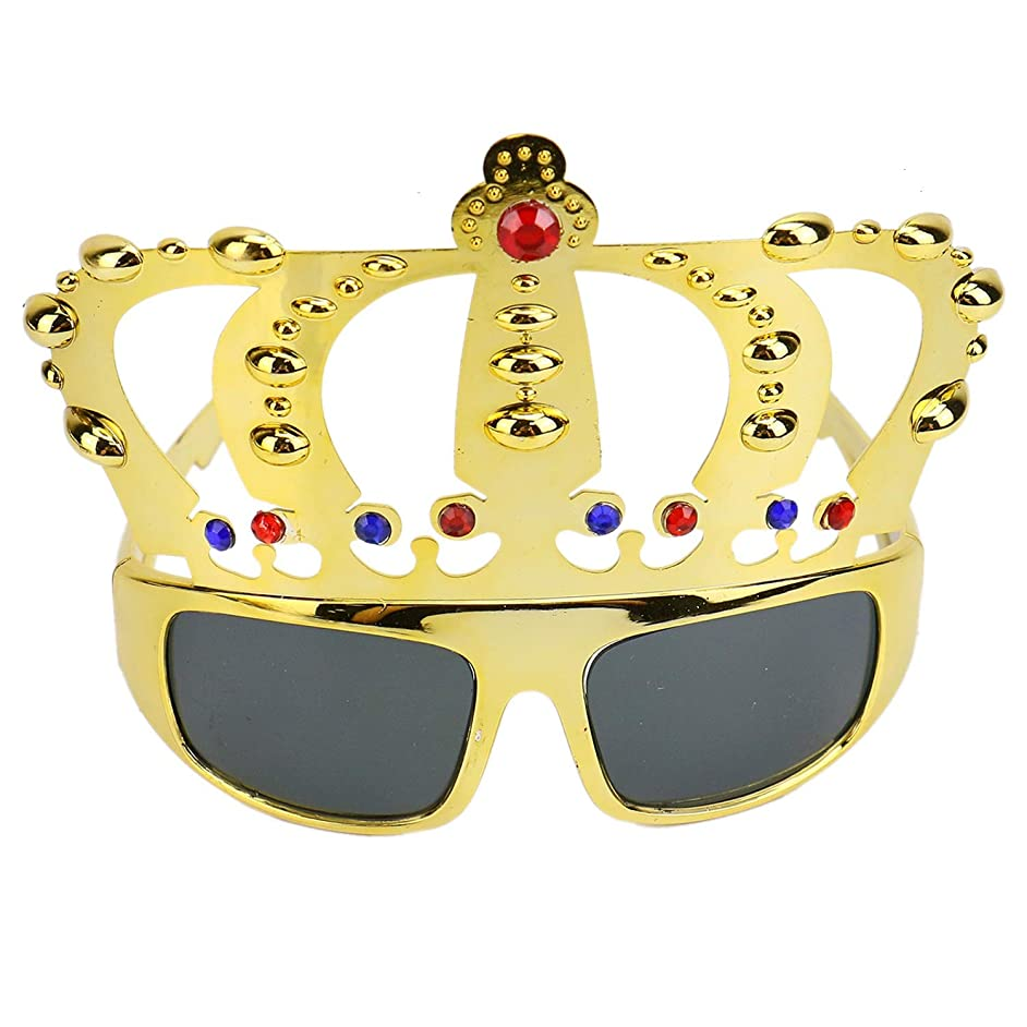 Monrocco Pack of 2 Crown Shape Birthday Party Glasses Novelty Sunglasses Eyewear Novelty Glasses Costume Glasses Props for Birthday Gift Party Favors