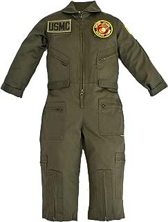 Kids Military Pilot Airman OD Green Flight Suit U.S.M.C. Patches XL (12)