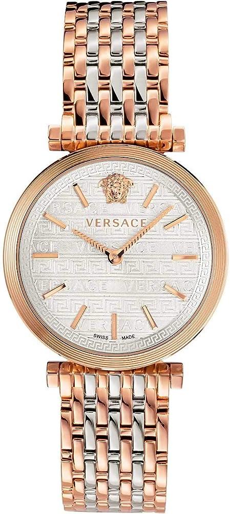 Versace v-twist - orologio da donna,   con cassa in acciaio placcato di colore 2 tone acciaio e oro rosa VELS00719