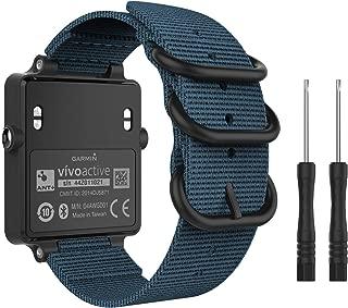 MoKo Watch Band for Garmin Vivoactive Acetate, Fine Woven Nylon Adjustable Replacement Strap for Garmin Vivoactive/Vivoactive Acetate Sports Smart Band - Blue
