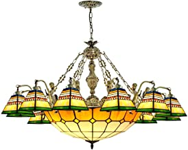 Tiffany Style Stained Glass Chandelier Bohemia Retro Hanging Pendant Lamp for Living Room Bedroom Dining Room Stairs Decor...