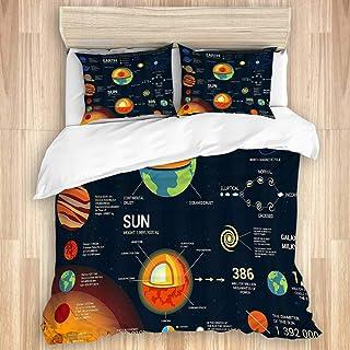 MEJX Parure de lit Set de Housse de Couette,Système Solaire Univers Infographie Cosmos Satellite Lune Fusée Spatiale Galax...