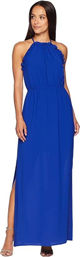 Gauzy Crepe Ruffle Maxi Dress