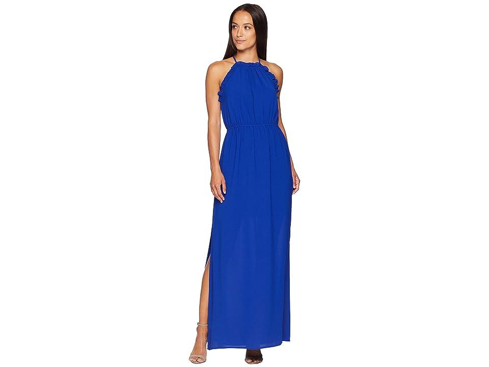 Adrianna Papell Gauzy Crepe Ruffle Maxi Dress (Cyprus Blue) Women