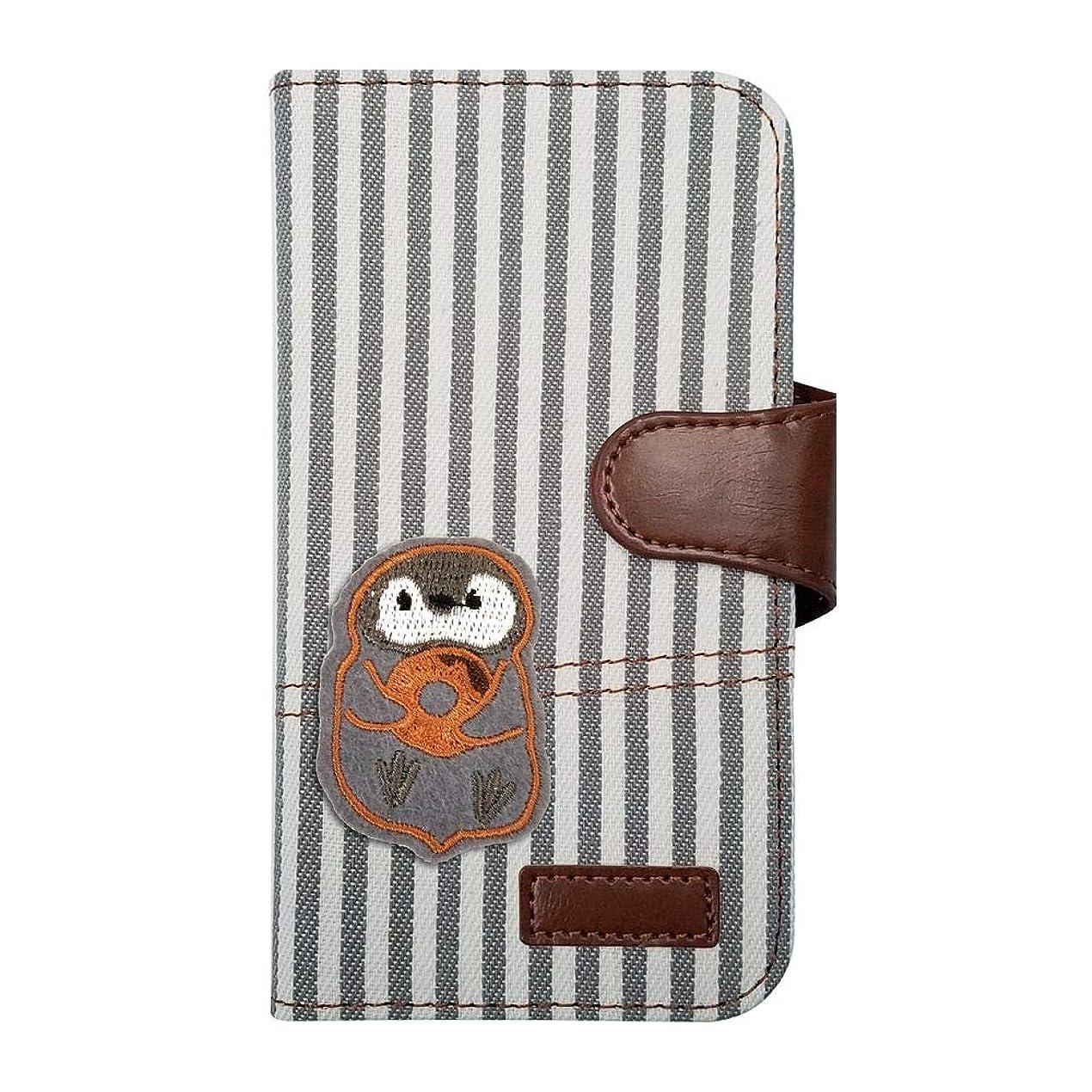 エゴマニア分散たるみ【moimoikka】 iPodTouch5 アイポッドタッチ5 ケース 手帳型 子ペンギン 動物 キャラクター かわいい ペンギン アニマル ヒッコリー(グレー) ワッペン 刺繍 生地 布 ファブリック カード収納 フリップ カバー スマートフォン もいもいっか sslink