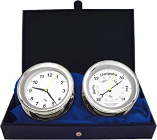 """MASTER-MARINER First Light Collection, Nautical Windlass Gift Set, 5.85"""" Diameter Clock and Barometer Instruments, Chrome Finish, Classic White dial"""