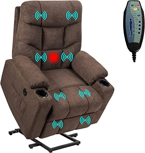 popular Giantex Power Lift Chair outlet sale Electric Recliner Sofa high quality for Elderly, Fabric Reclining Sofa w/ 8 Point Massage & Lumbar Heat, 2 Side Pockets Cup Holders USB Charge Port, Motorized Sofa Chair for Living Room online sale